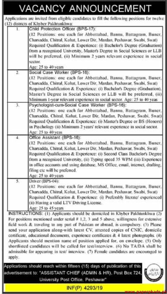 Government of Khyber Pakhtunkhwa Jobs 2019 Latest