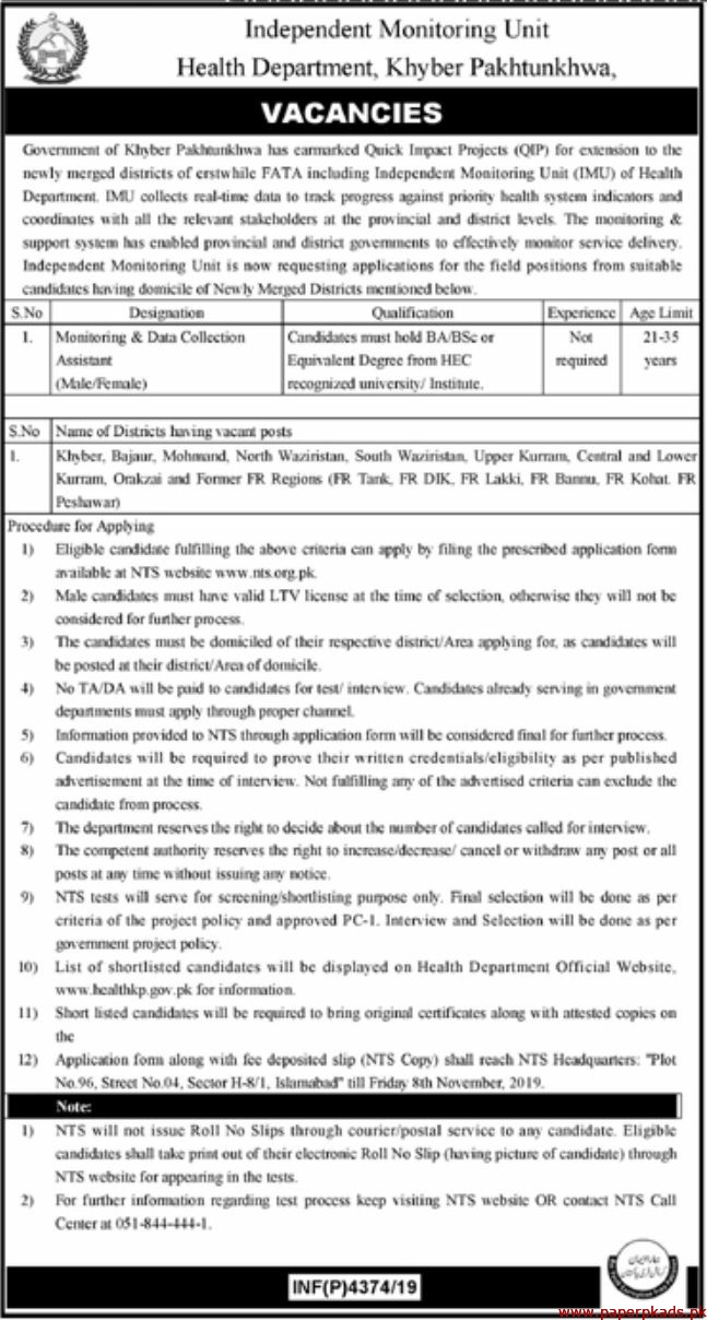Health Department Khyber Pakhtunkhwa Jobs 2019 Latest