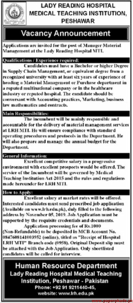 Lady Reading Hospital Medical Teaching Institution Jobs 2019 Latest