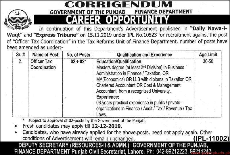 Government of the Punjab Finance Department Jobs 2019 Latest