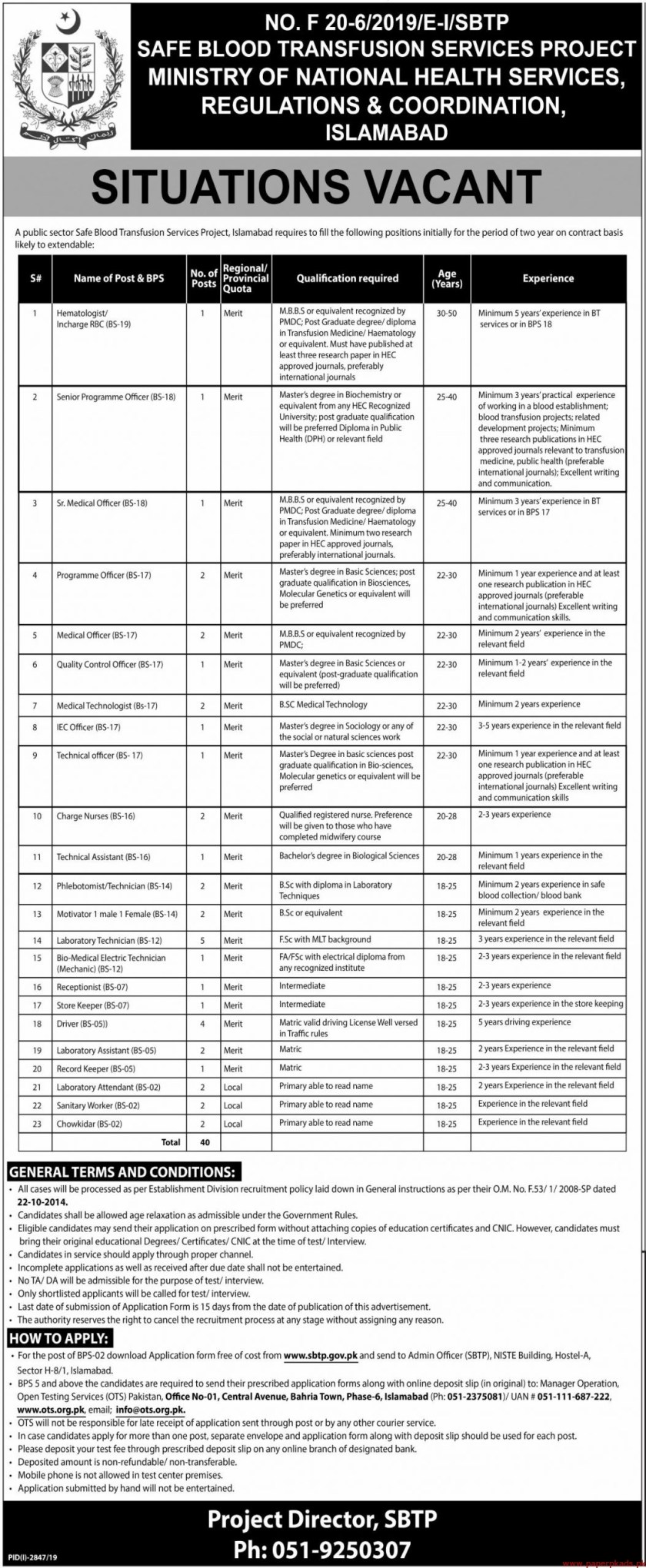Ministry of National Health Services Jobs 2019 Latest