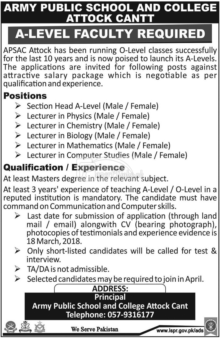 Army Public School and College Attock Cantt Jobs 2018