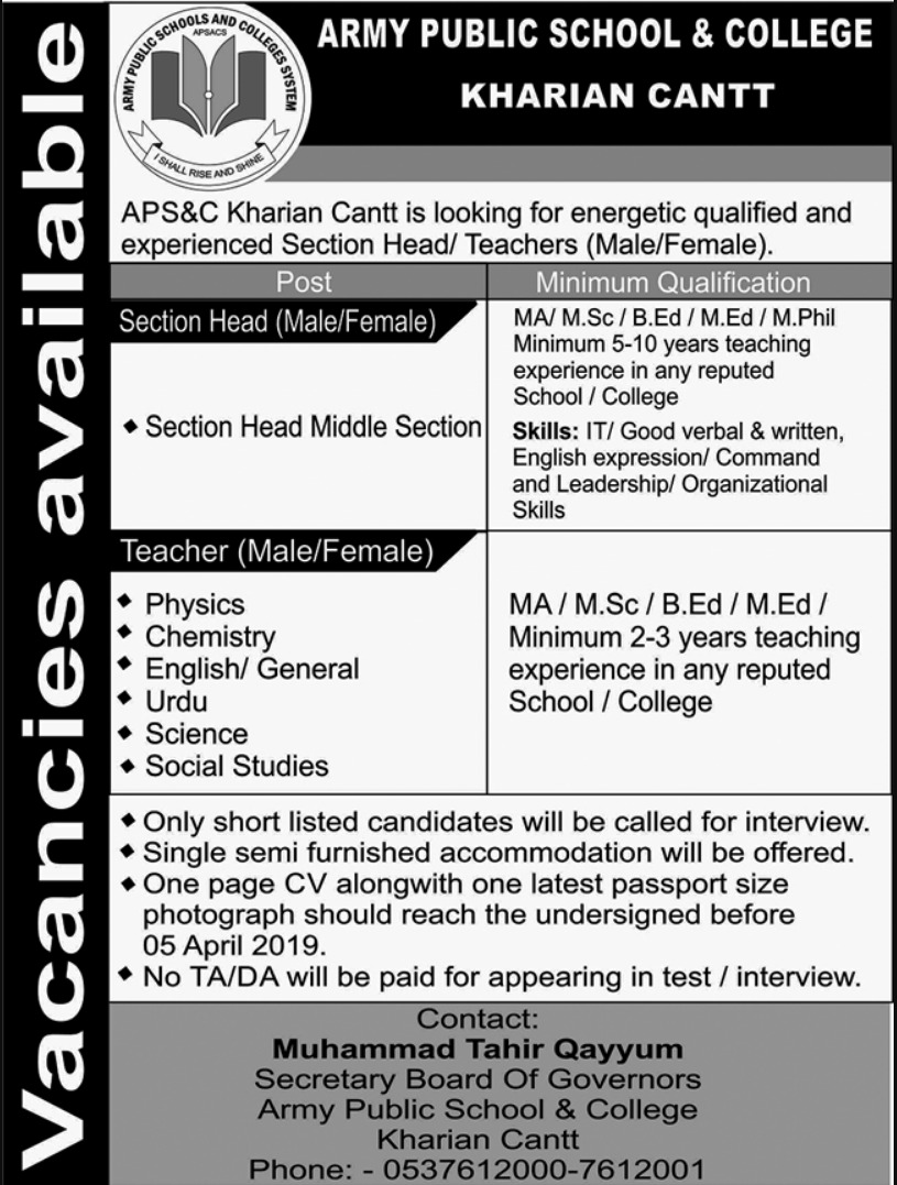 Jobs In Combined Military Hospital Kharian Cantt 31 Mar