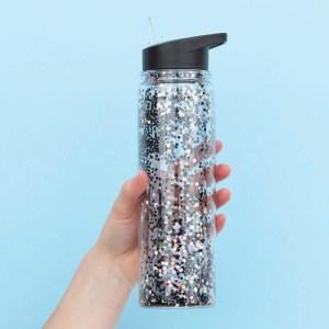 Drink Bottle XL Glitter Black/Silver