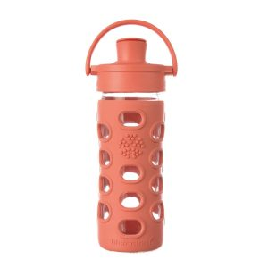 Lifefactory Glass Bottle with Straw Cap 12 oz/350ml Persimmon
