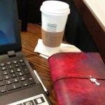 Camp NaNo April 2015 (?) Writer's Bible, Laptop, and Starbucks's White Chocolate Mocha