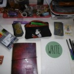 NaNoWriMo 2016: Writer's Bible, which includes my Writer Bullet Journal, my Writer Notebook, a few supplies, Tarot Cards