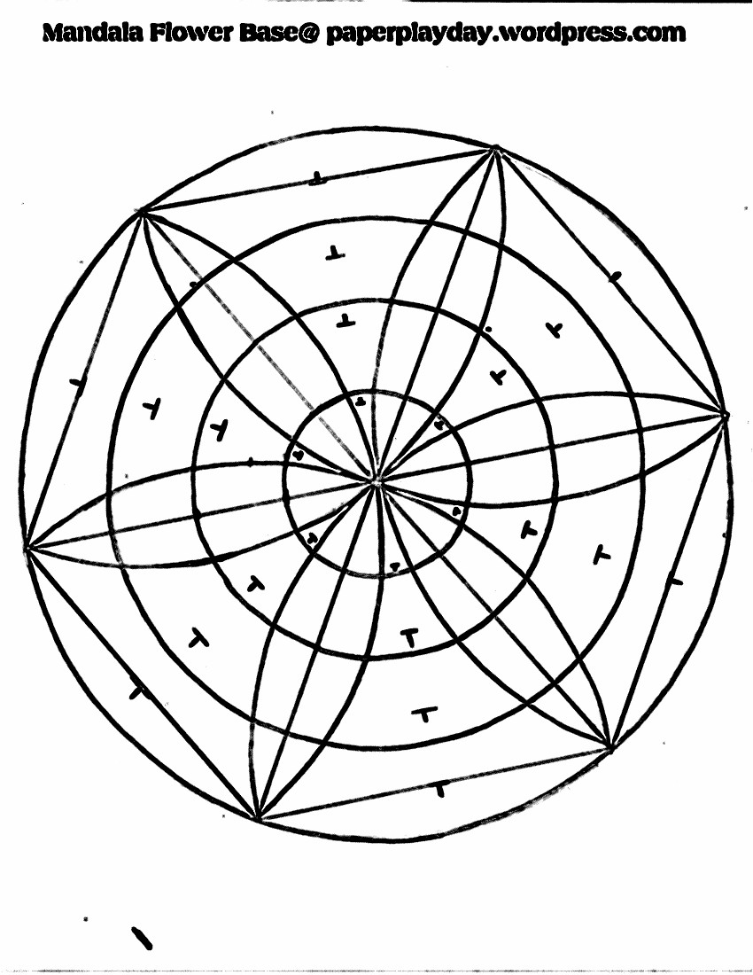 Mandala Template/ Compass Flower (Circles and Lines