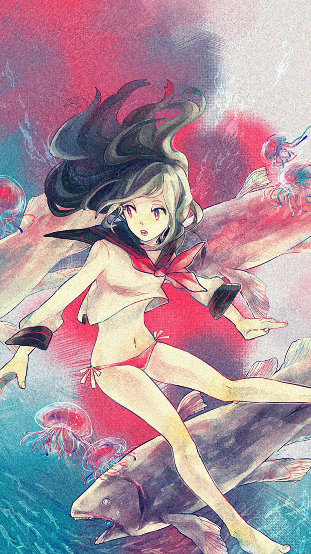 Free Cute Wallpaper For Iphone 4 Ac24 Wallpaper Girl In Ocean Anime Illust Papers Co