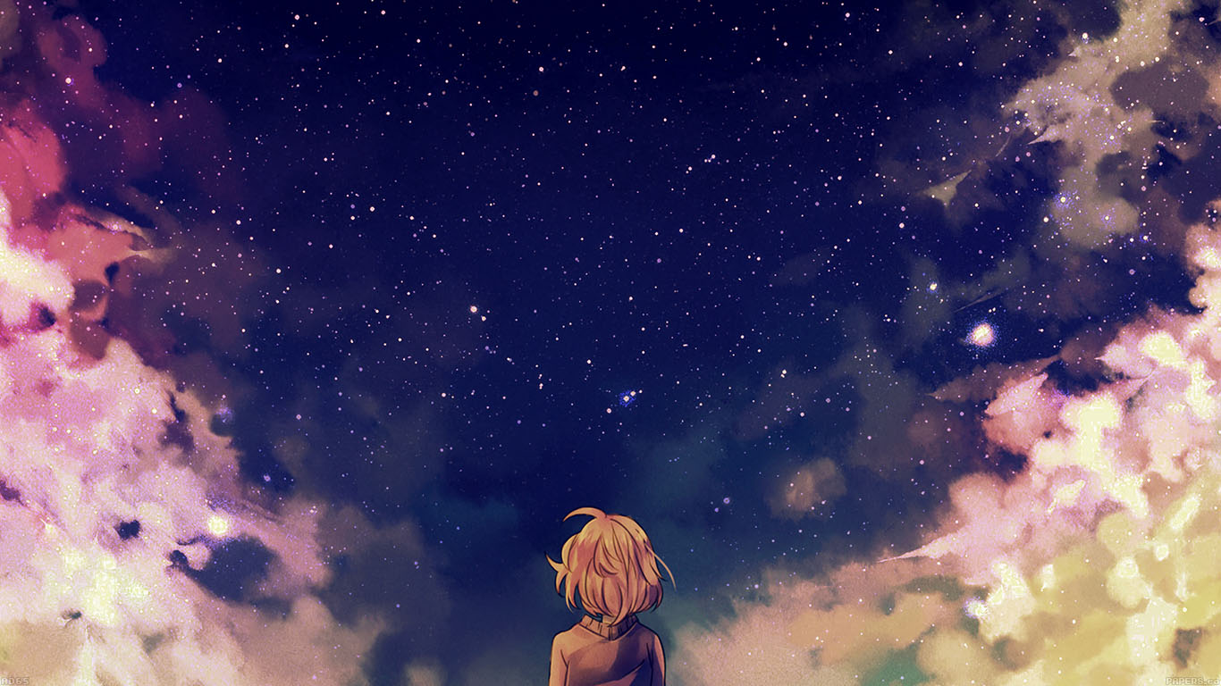 Fall Themed Wallpaper Iphone Ad65 Starry Space Illust Anime Girl Wallpaper