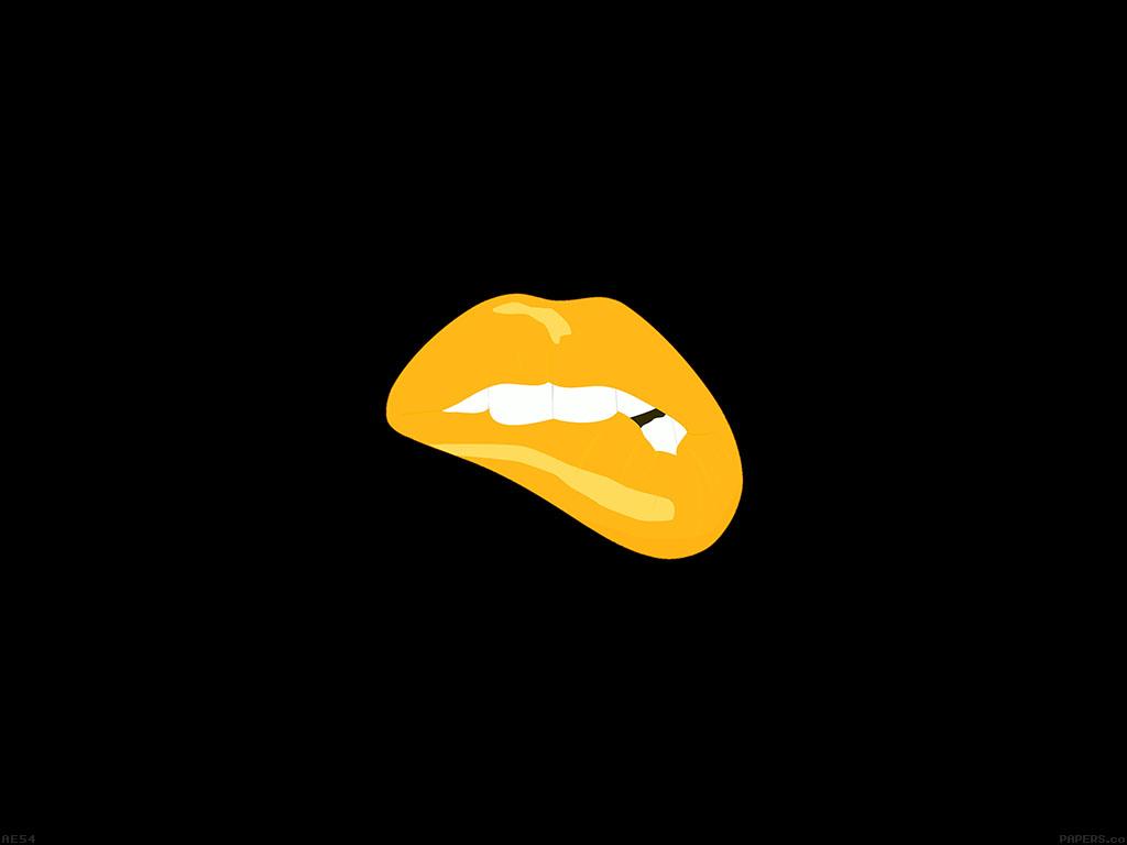 Cute Lips Wallpaper Ae54 Biting Lips Gold Black Background Minimal Art Wallpaper