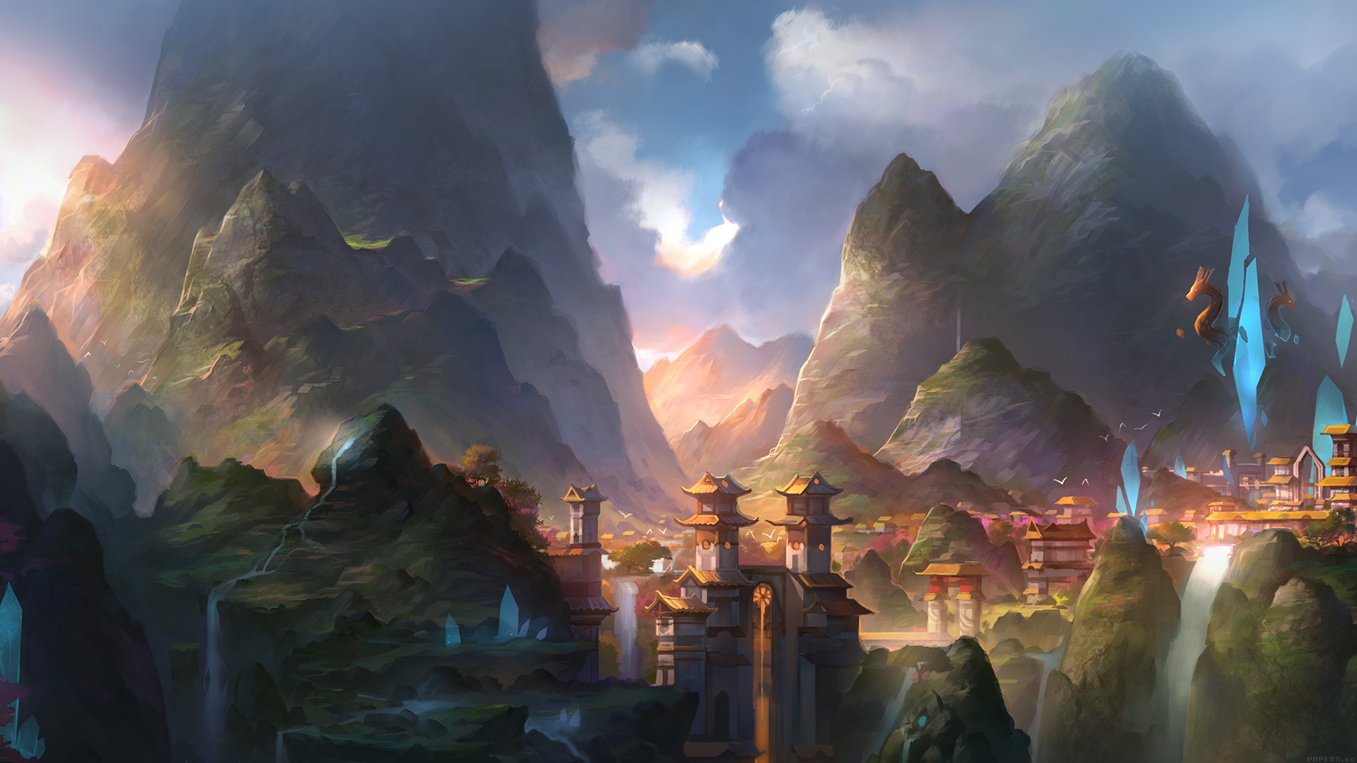 City Fall Desktop Wallpapers Af67 Mountain Art Illust Anime Peaceful Papers Co