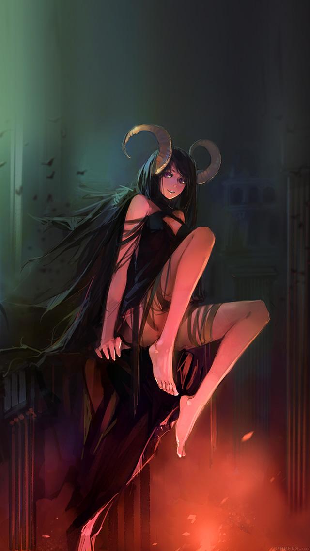 Evil Anime Girl Wallpapers Ag38 Devil Skull Girl Illust Art Papers Co