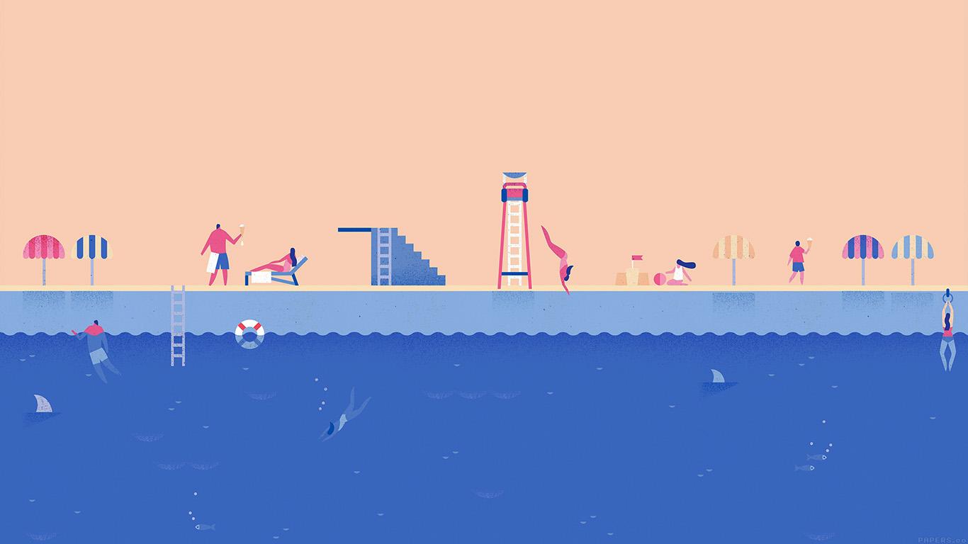 Cute Anime Cartoon Wallpaper Ah03 Google Lollipop June Blue Swim Illust Art Papers Co