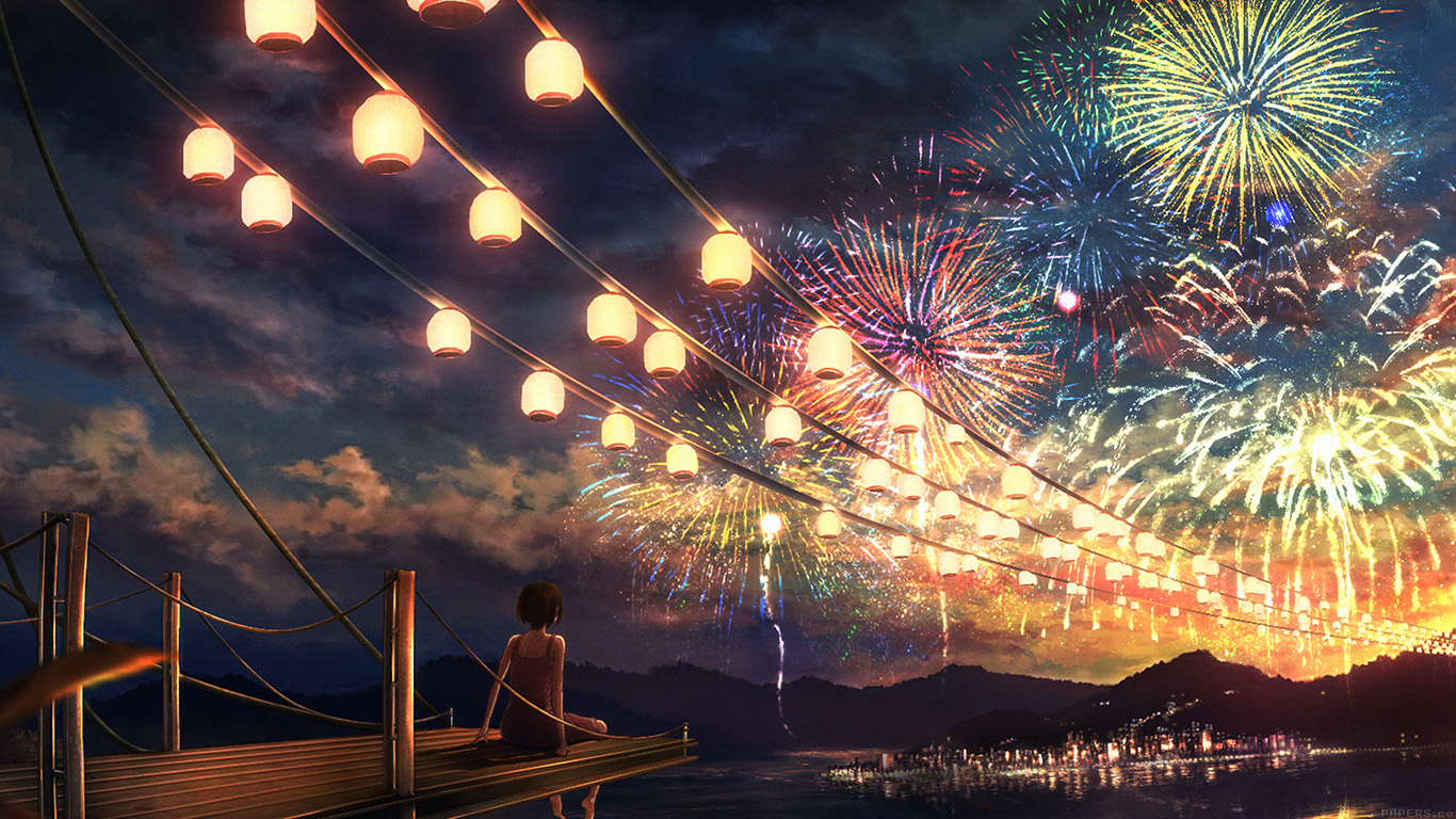 Desktop Wallpaper Fall Scenery Ah43 Firework Girl Dark Night Anime Art Illust Papers Co