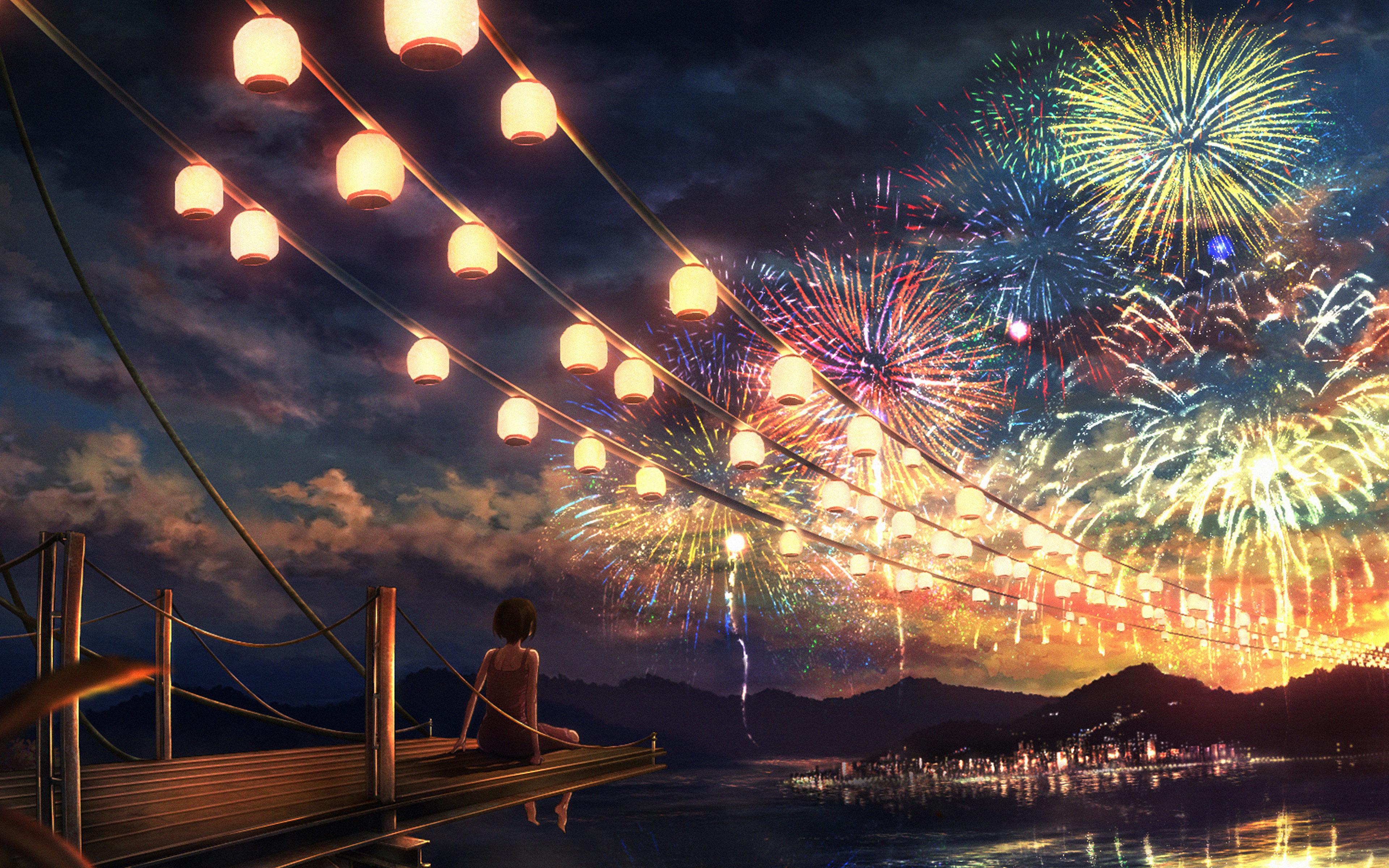 Fall Festival Wallpaper Ah43 Firework Girl Dark Night Anime Art Illust Papers Co