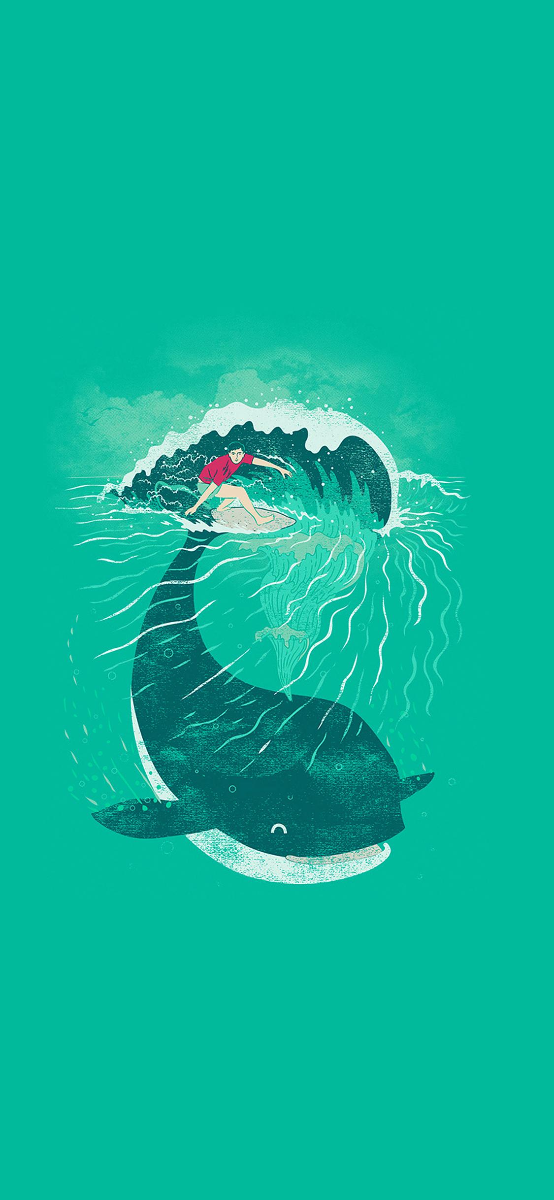 Girl Wallpapers Hd Iphone Ah85 Whale Surfer Wave Animal Illust Art Sea Wallpaper