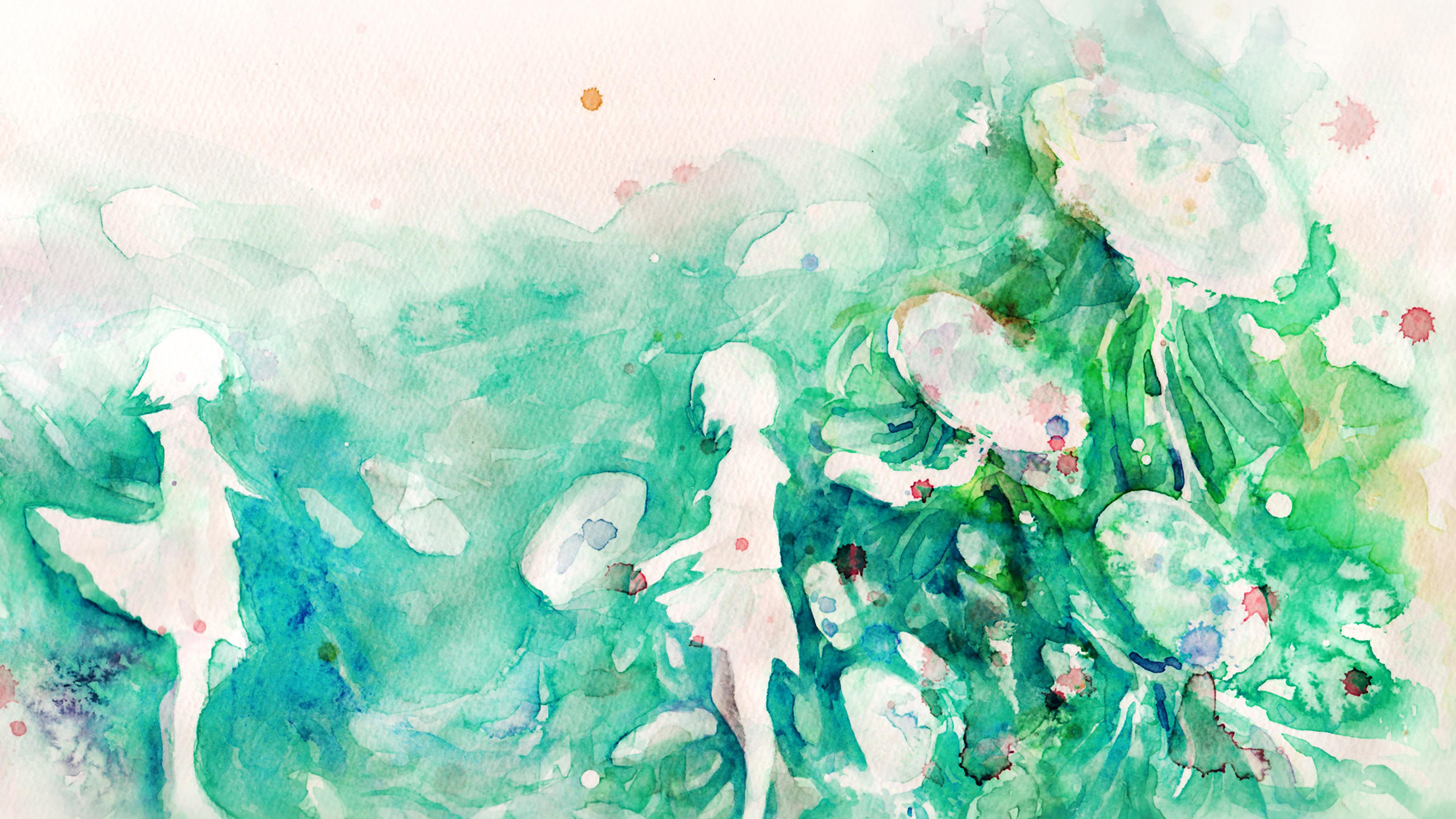 Small Cute Girl Wallpaper Ai07 Watercolor Green Girl Nature Art Illust Wallpaper