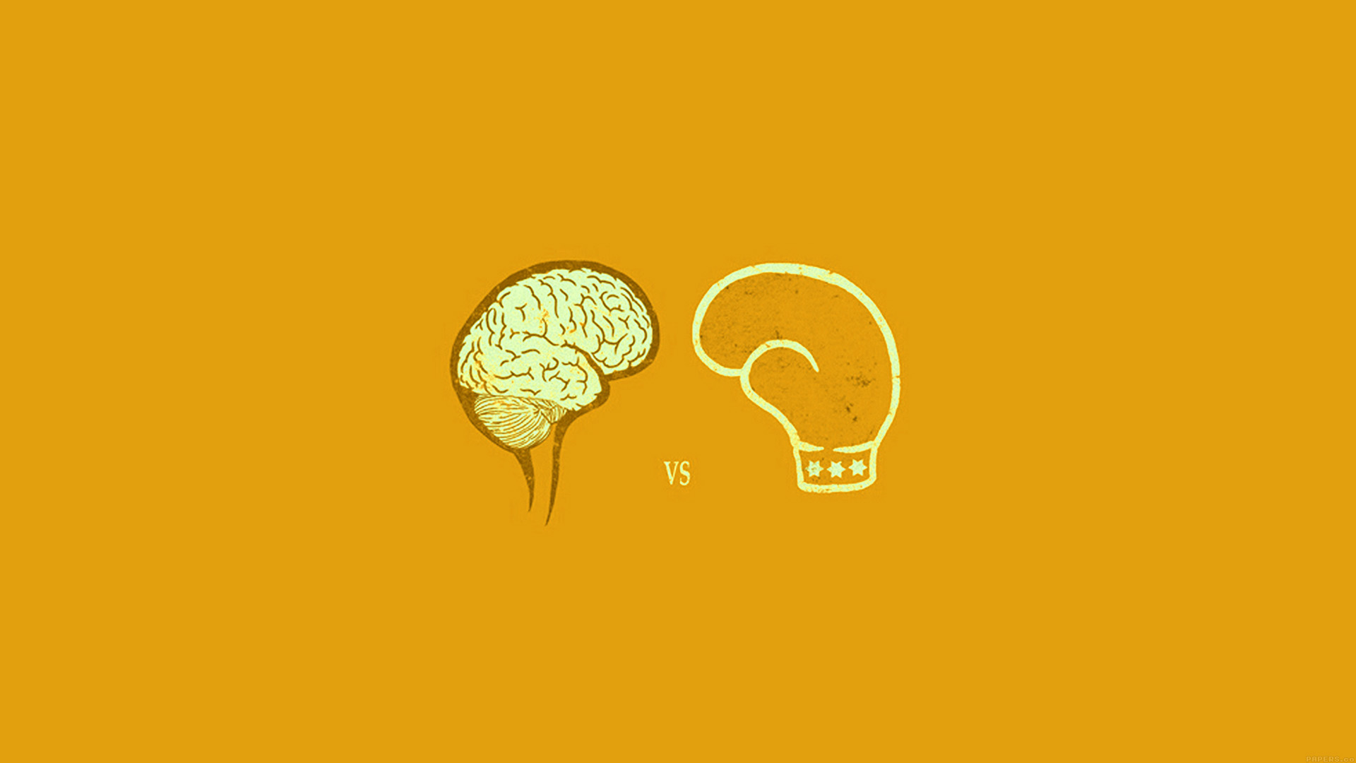 Cute Videogame Wallpaper Ai23 Brain Vs Boxing Illust Gold Minimal Art Wallpaper