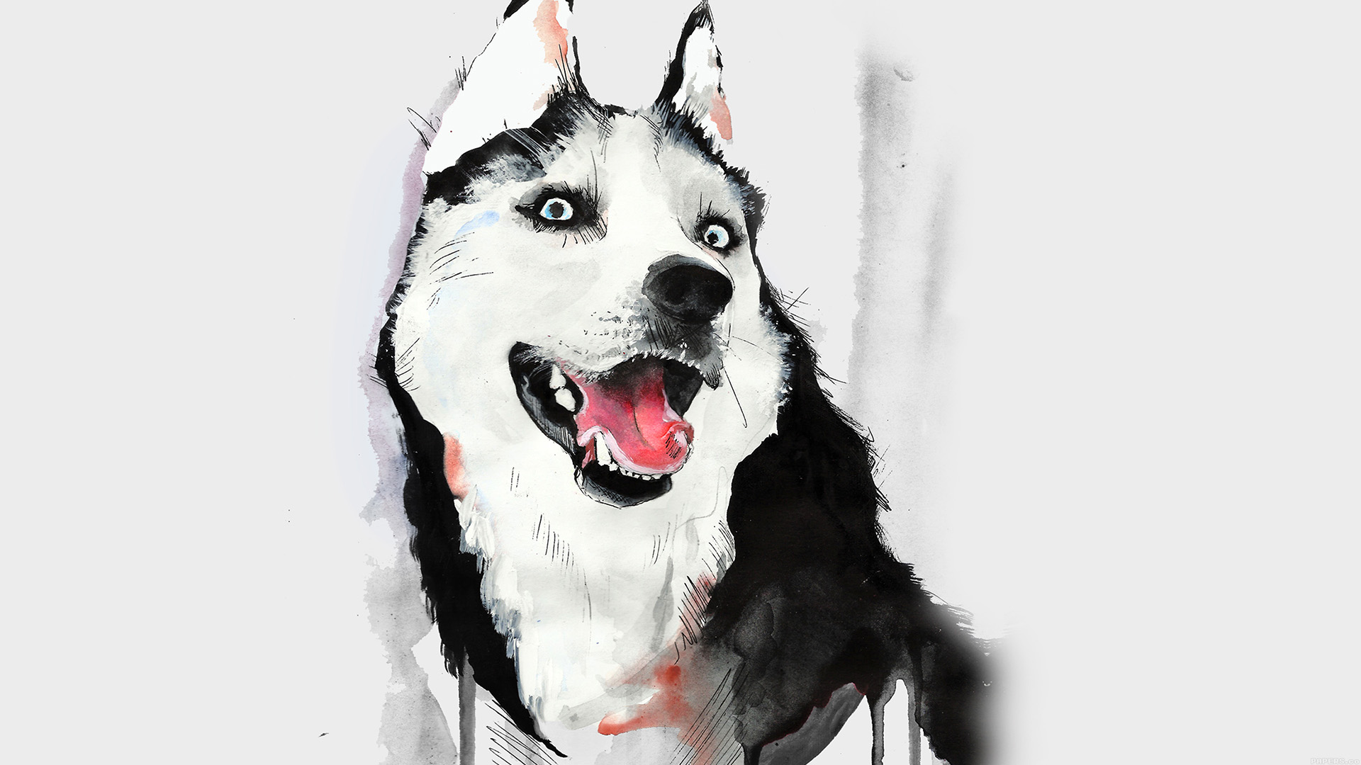 Happy Fall Wallpapers Ai25 Happy Dog Husky Animal Illust Watercolor Papers Co