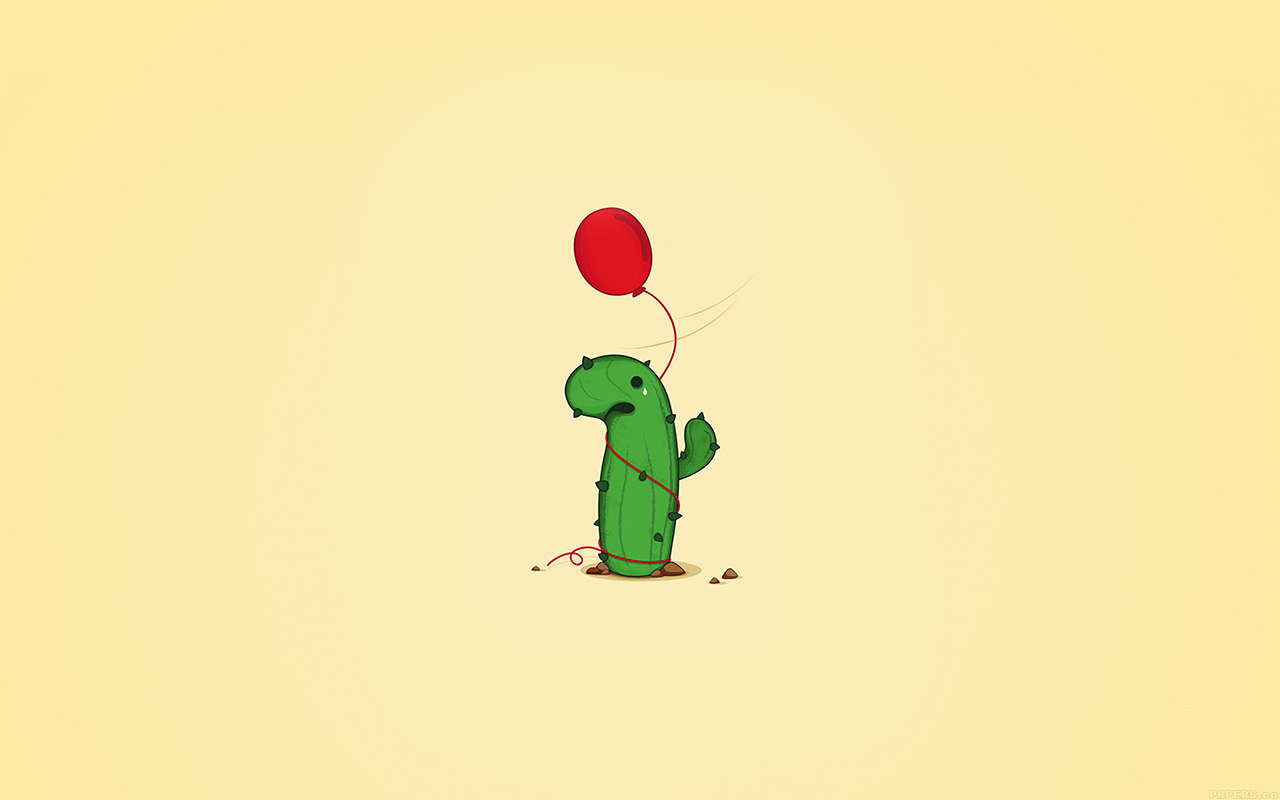 Cute Cactus Wallpaper Macbook Ai35 Cute Cactus Ballon Illust Art Minimal Papers Co
