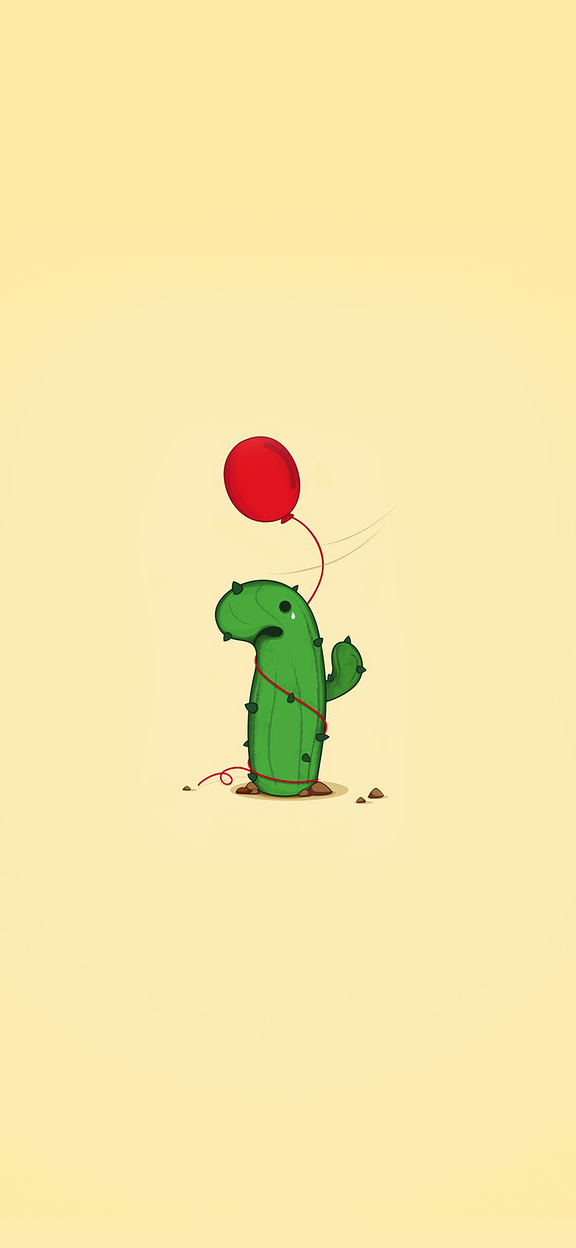 Apple Iphone Background Wallpapers Ai35 Cute Cactus Ballon Illust Art Minimal Papers Co