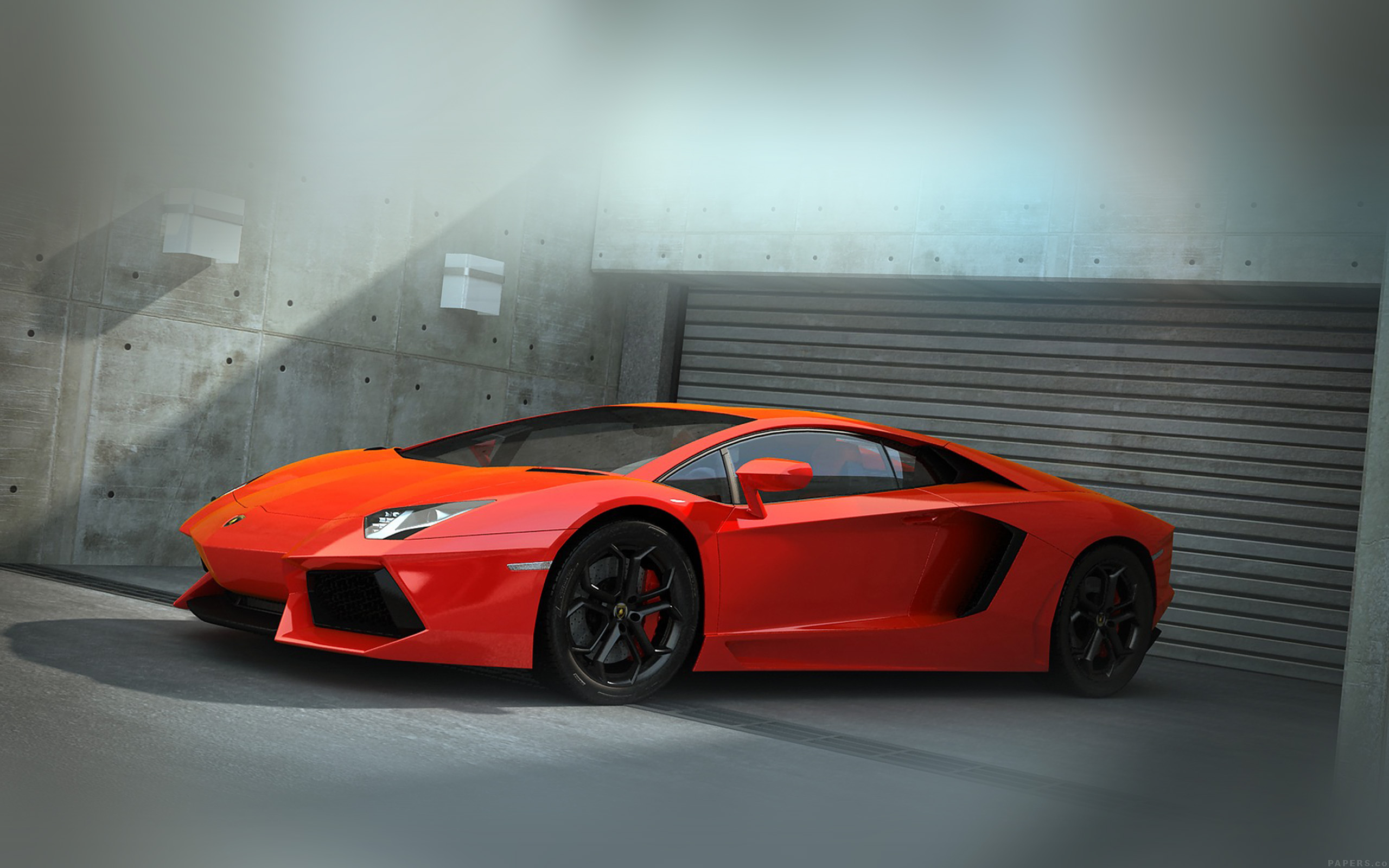 Car Parked At Night Wallpaper  Ai89 Red Lamborghini Parked Car Art Papers Co