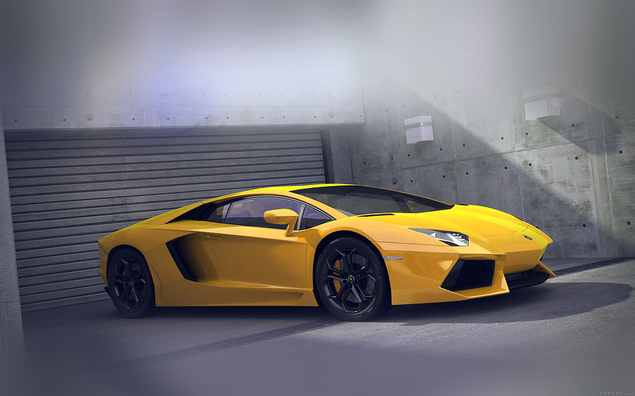 Car Parked At Night Wallpaper  Ai90 Yellow Lamborghini Parked Car Art Papers Co