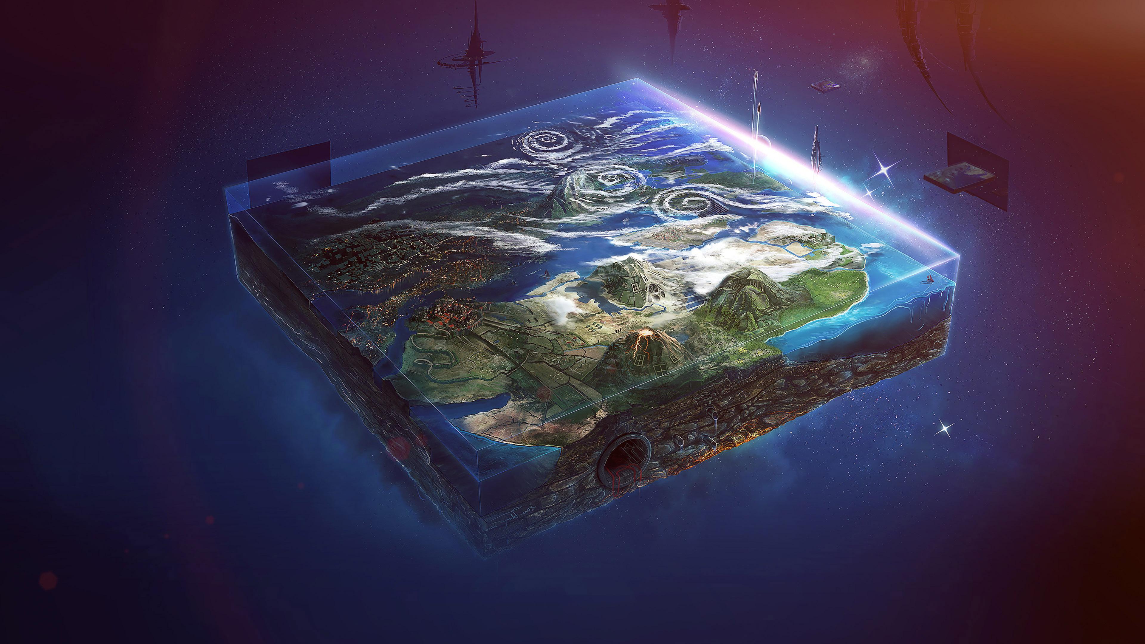 Animated Flower Wallpaper Ai95 Flat Earth Art Flare Illust Space Wallpaper