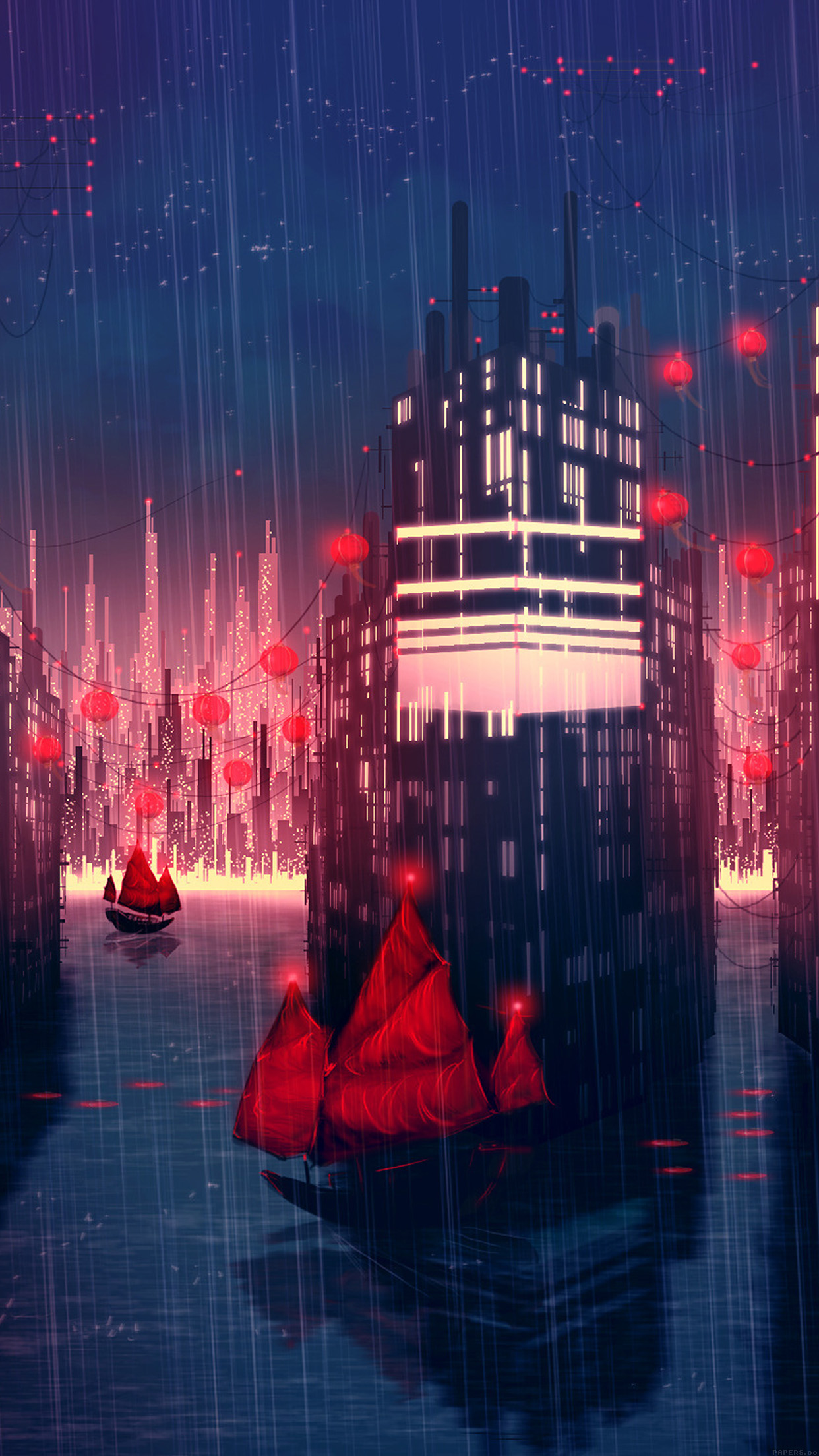Neon Fall Wallpapers Papers Co Iphone Wallpaper Aj08 Rainy Anime City Art