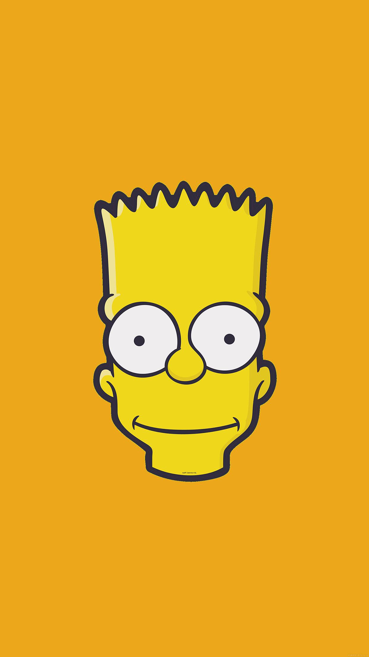 Cute Cartoon Face Wallpapers Aj30 Bart Face Art Illust Yellow Simpsons Minimal Simple