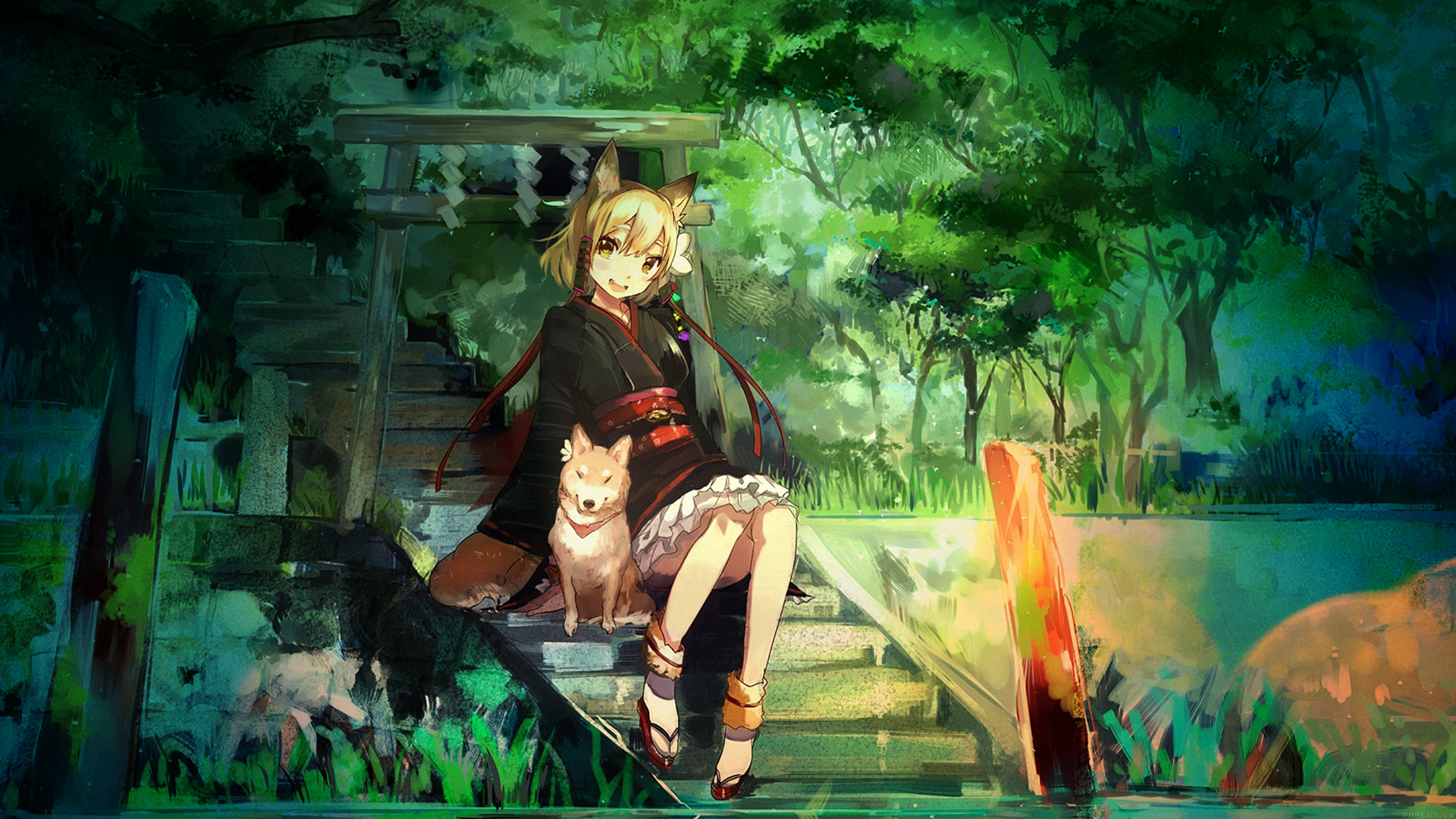 Cute Dog Wallpapers Fot Google Aj47 Girl And Dog Green Nature Anime Art Illust Papers Co