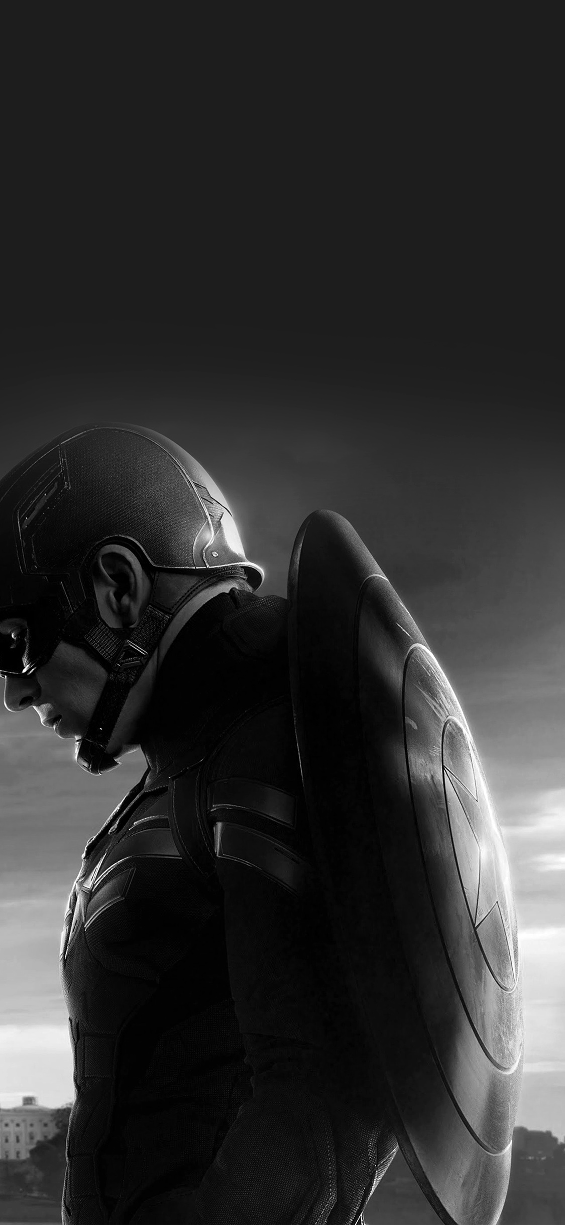 Iphone 6 Hd Wallpaper Black And White An85 Captain America Sad Hero Film Marvel Dark Bw Wallpaper