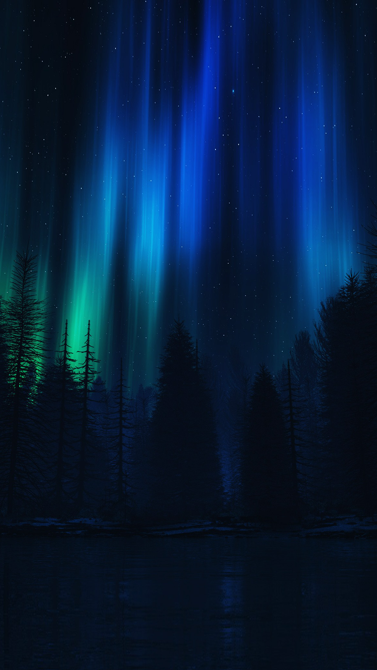 Hd Car Cell Phone Wallpaper Ao04 Aurora Night Sky Dark Blue Nature Art Papers Co