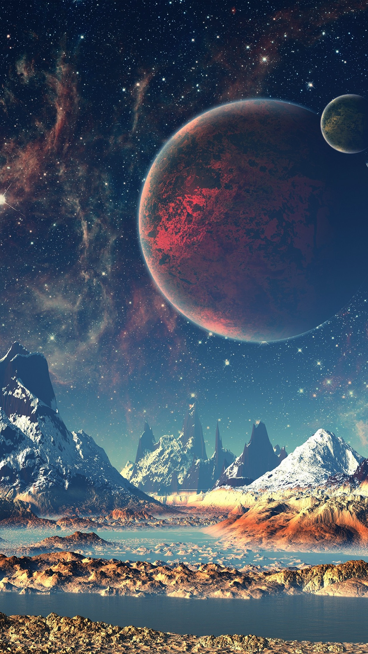 Movable Wallpaper Iphone X Aq10 Dream Space World Mountain Sky Star Illustration