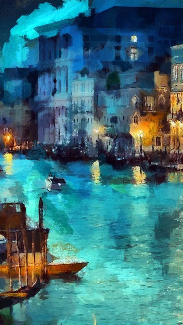 Iphone Wallpaper Aq32-art-classic-painting-water-lake-night-blue