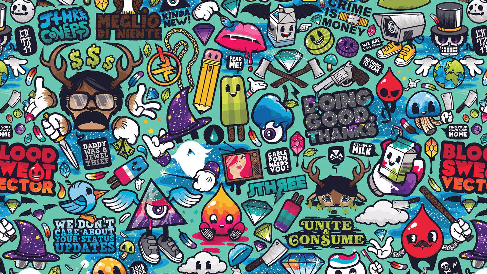 Gravity Falls Iphone 7 Plus Wallpaper Aq61 Art Work Pattern Illustration Graffiti Wallpaper