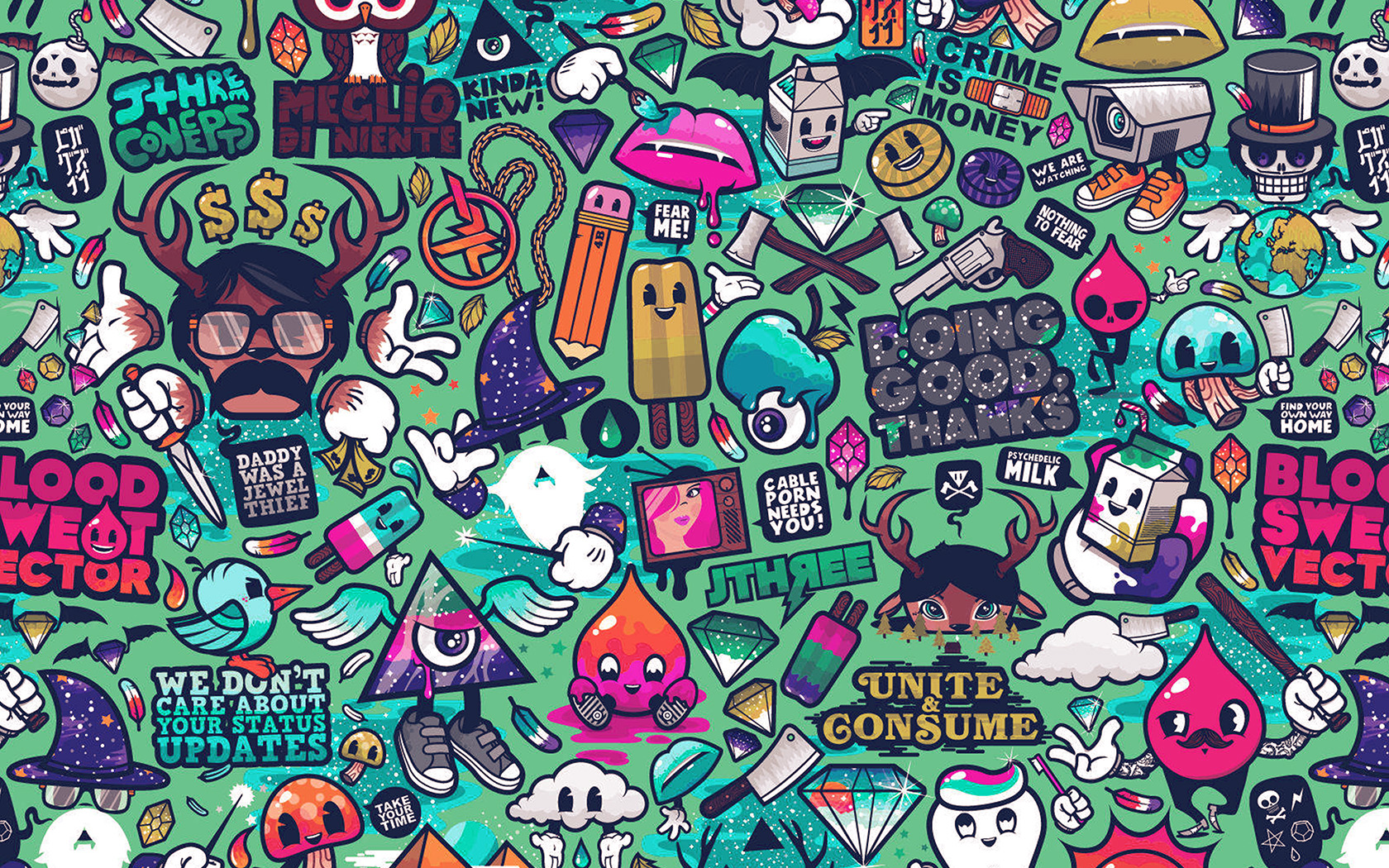 Computer Desktop Hd Wallpapers Fall Aq62 Art Work Pattern Illustration Graffiti Green Wallpaper