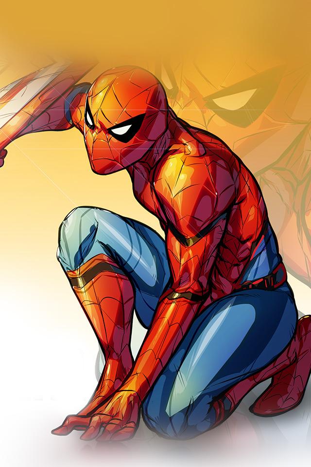 Iphone 5 Hd Wallpaper Abstract Aq72 Spiderman Captain America Civilwar Art Hero Wallpaper