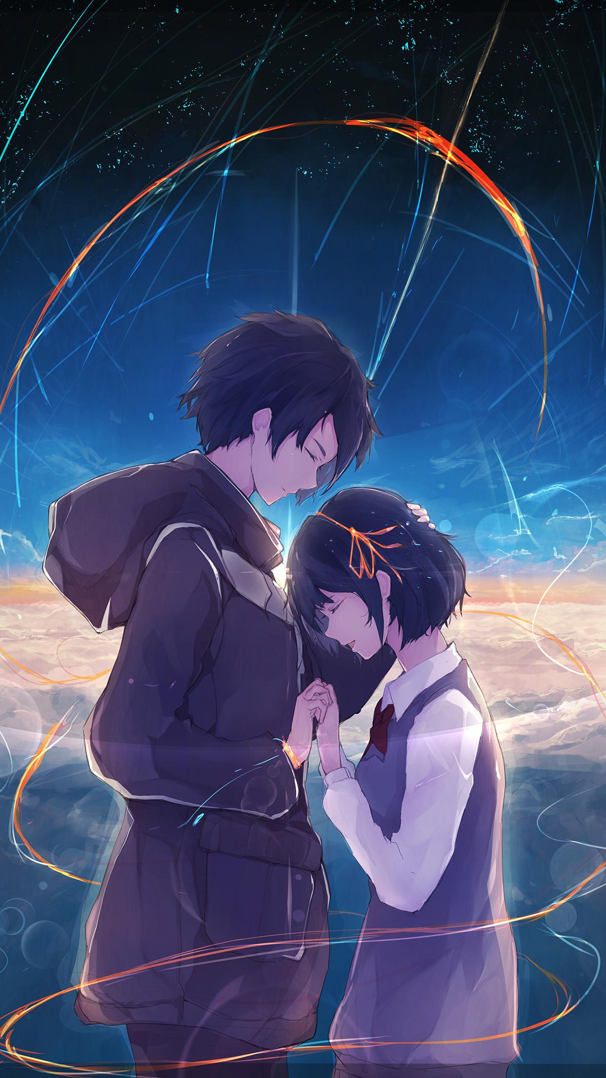 Cute Love Couples Wallpapers For Mobile At27 Anime Kiminonawa Drawing Art Illustration Wallpaper