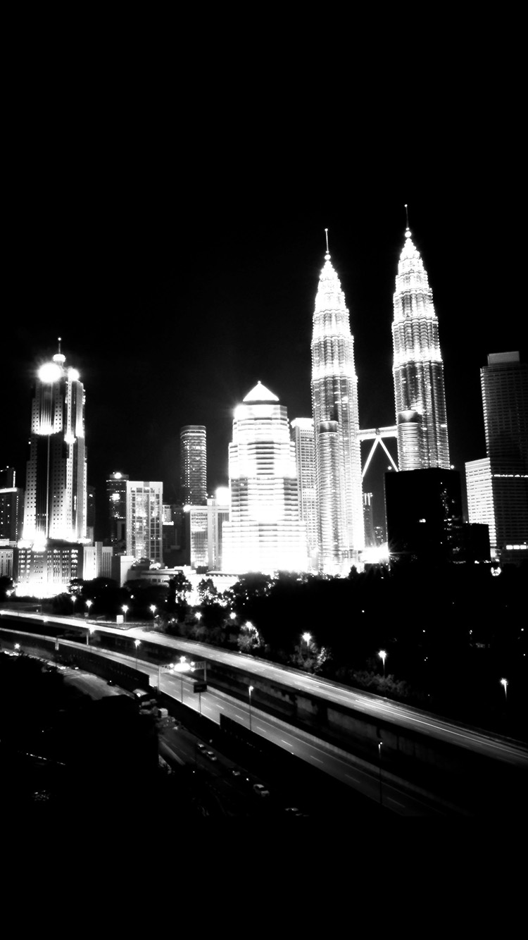 Iphone X Wallpaper For Note 8 At71 Kuala Lumpur Dark City Urban Art Illustration Black