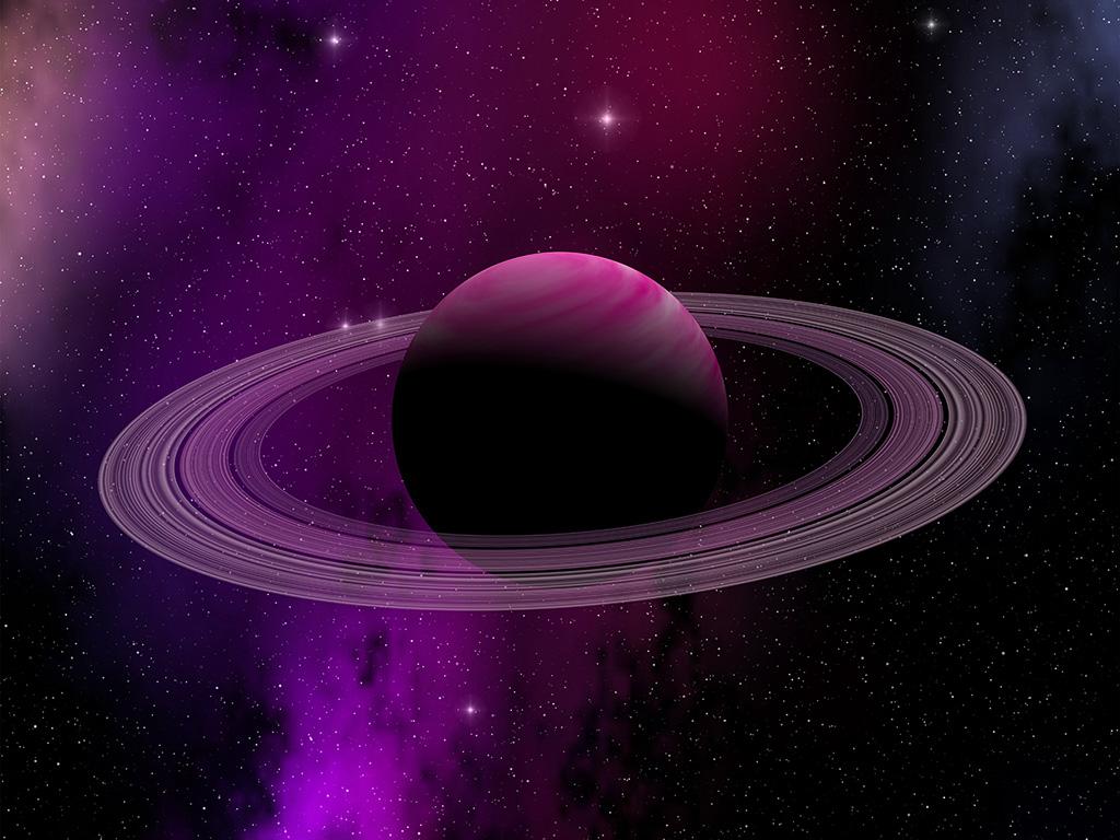 Cute Illustration Wallpaper At80 Space Planet Saturn Star Art Illustration Purple