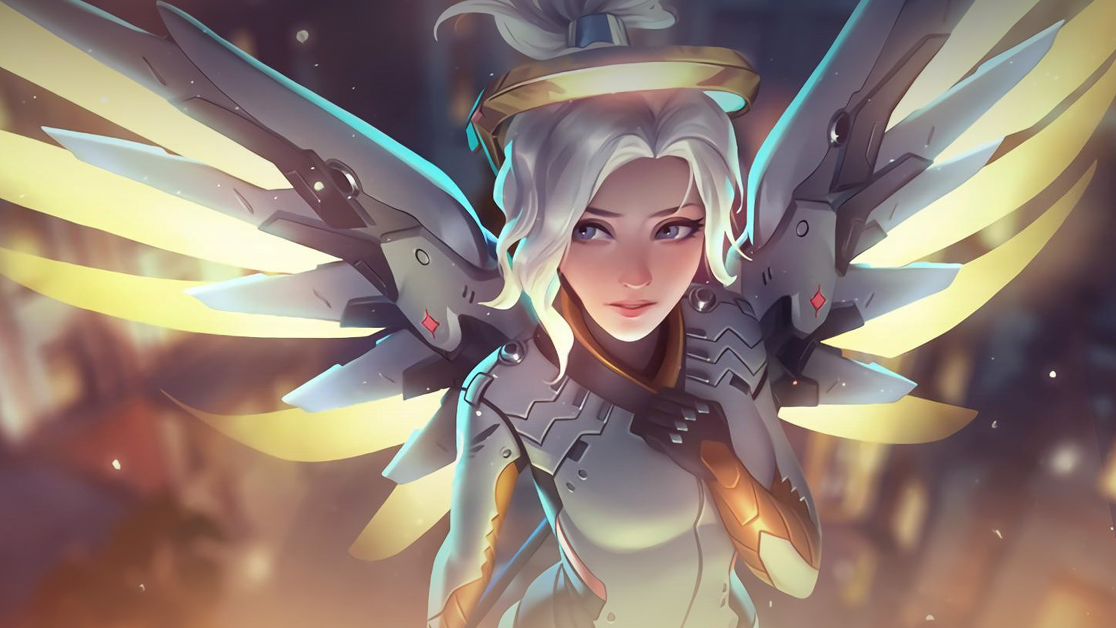 Iphone 7 Plus Anime Girls Wallpapers At82 Mercy Overwatch Angel Healer Game Art Illustration