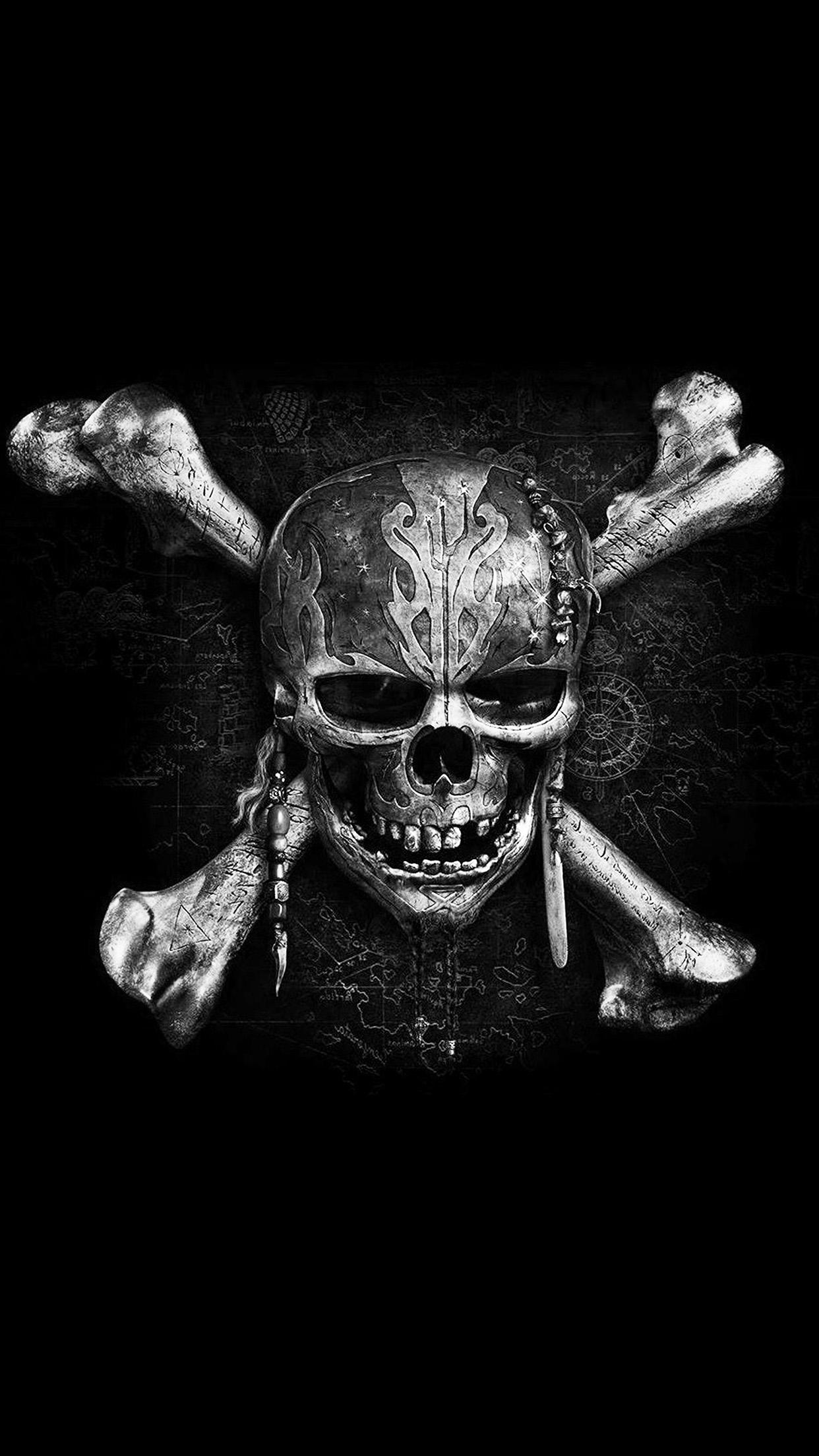 Skeleton Pattern Wallpaper Cute At84 Pirates Dark Skull Art Illustration Bw Wallpaper
