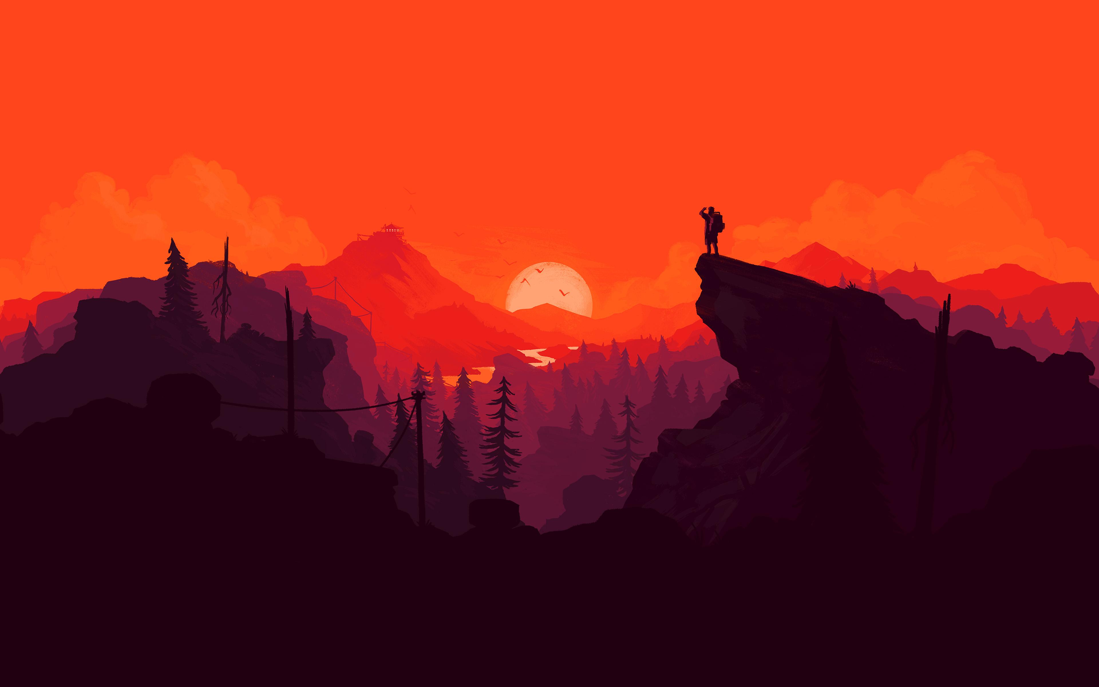 2560x1080 Fall Mountain Wallpaper Au35 Nature Sunset Simple Minimal Illustration Art Red
