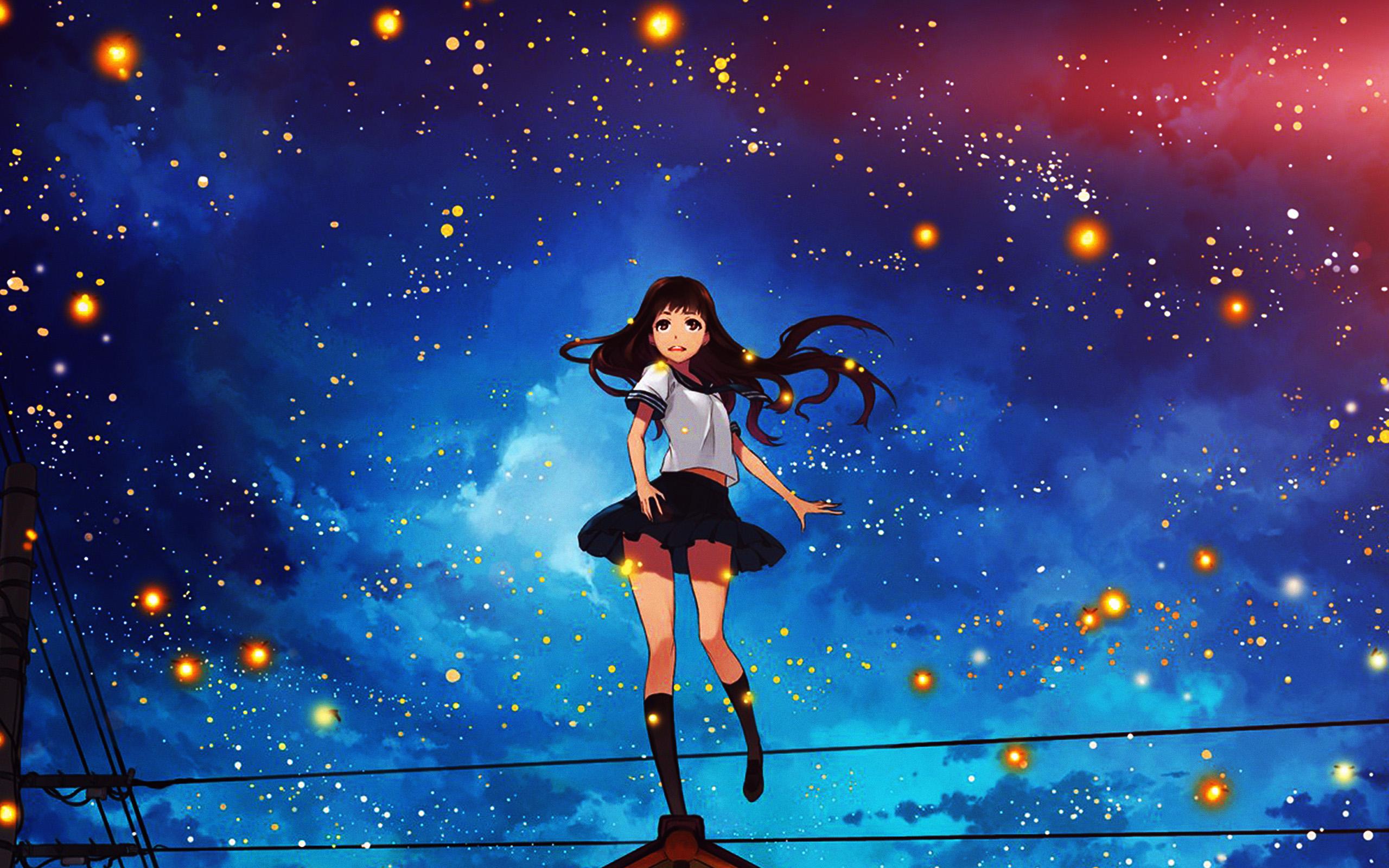 Pastel Cute Wallpaper 1080 Au47 Girl Anime Star Space Night Illustration Art Flare