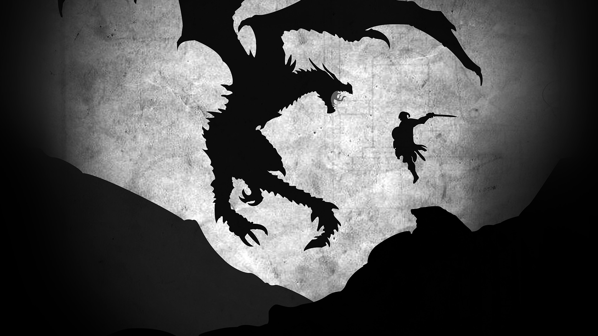 4k Fall Mountain Wallpaper Au58 Skyrim Dragon Illustration Art Bw Wallpaper