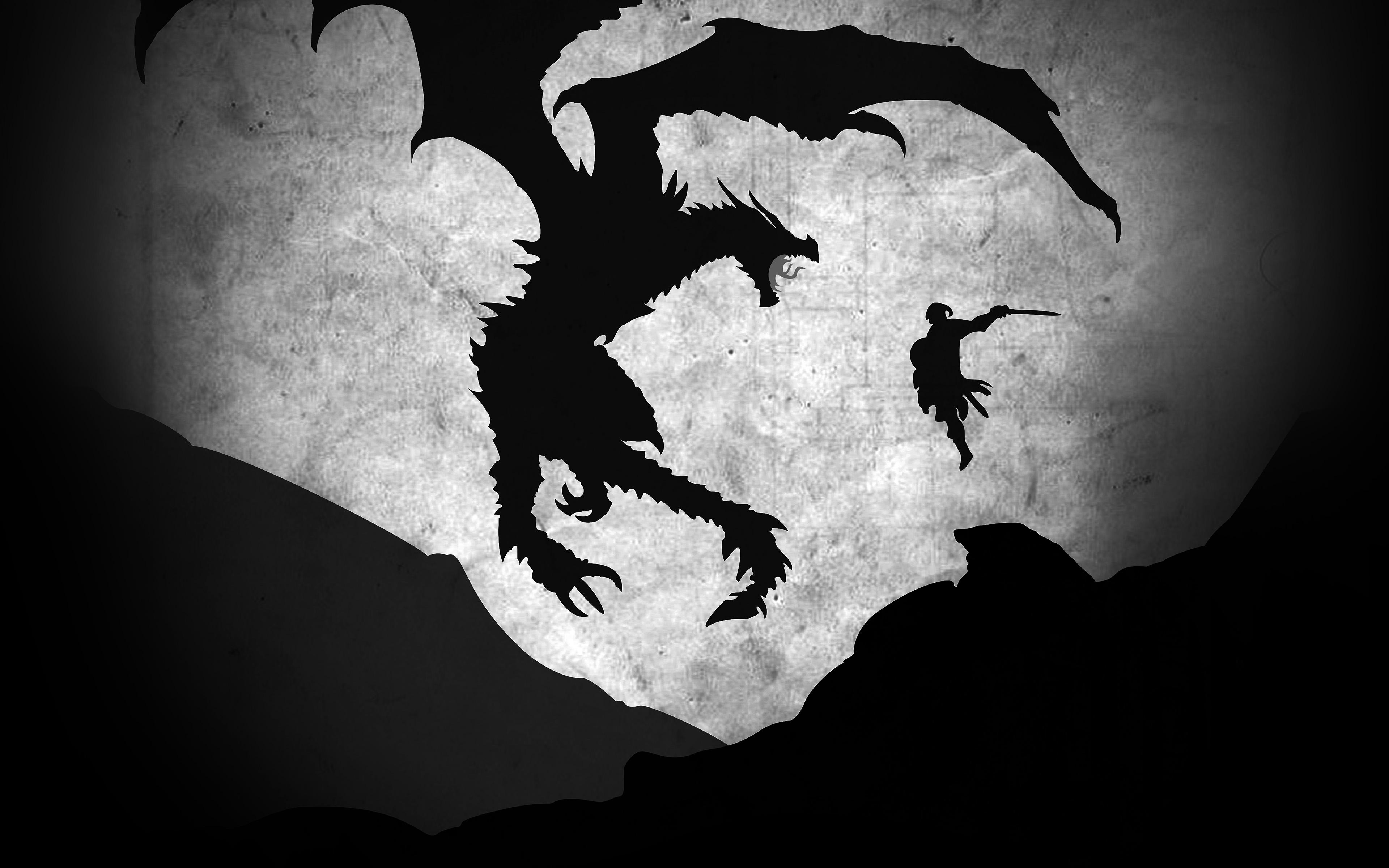 Skyrim Fall Wallpaper Hd Au58 Skyrim Dragon Illustration Art Bw Wallpaper