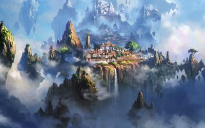fantasy town cloud anime illustration 4k xing liang av35 waterfall wallpapers background hd macbook 2160 papers desktop wall pro ultra