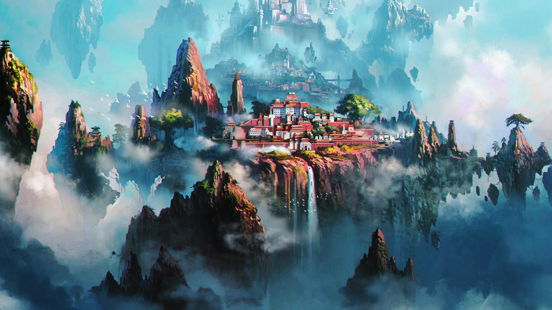 Iphone 7 Plus Anime Girls Wallpapers Av36 Cloud Town Fantasy Anime Liang Xing Illustration Art